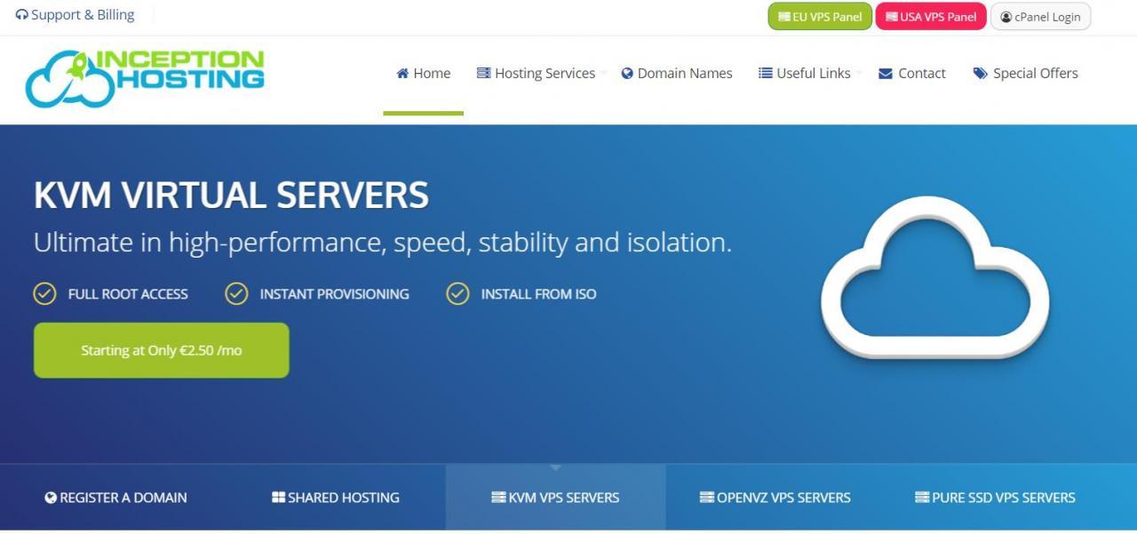 Inception hosting - €5.25/月 2GB 400GB 2TB KVM 凤凰城 存储