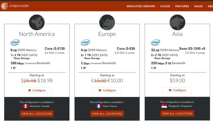 OneProvider i3-530/4G/2*1TB 法国独立服务器 €10