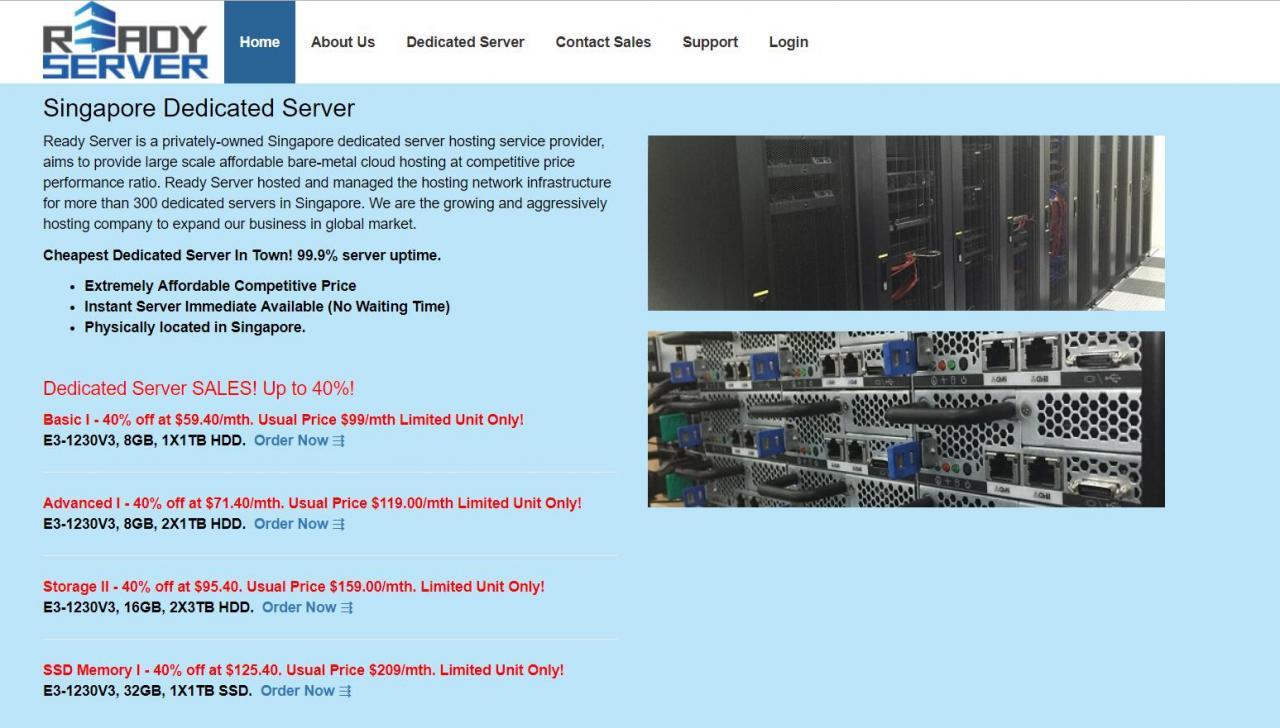 Ready Server - 独立服务器 6折优惠 100Mbps 新加坡