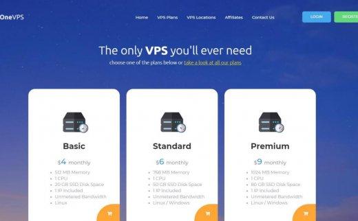 Onevps – 不限流量KVM $3.6/月 可WIN 8机房可选 日本 新加坡