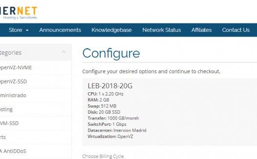 GinerNet:€9.99/年/512MB内存/5GB SSD空间/250GB流量/OpenVZ/西班牙