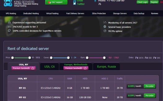 King-servers:VPS仅$2.5,独立服务器$45,俄罗斯/美国/荷兰