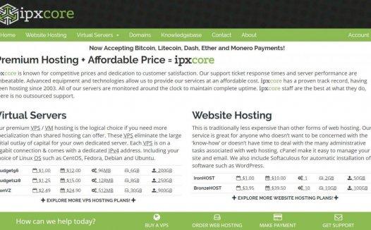 IPXcore – $2.49 OpenVZ 512MB/30G/900G 凤凰城