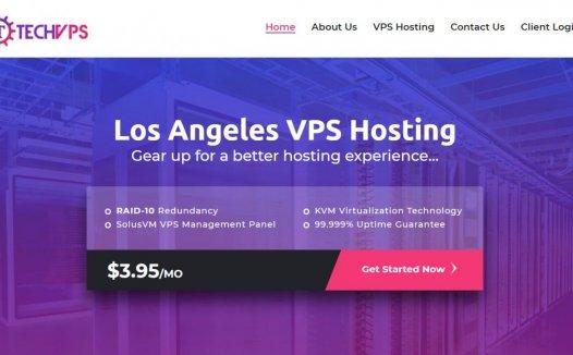Techvps – 洛杉矶特价KVM 年会18刀 1C/1G/20G/3TBW  支付宝